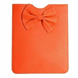Red Valentino 100% Leather Women's Orange Bow Decorated Pouc