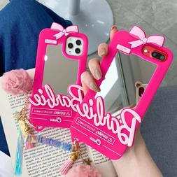 3D Cute Bow Barbie Mirror Pink Soft Phone Case Cover For iPh