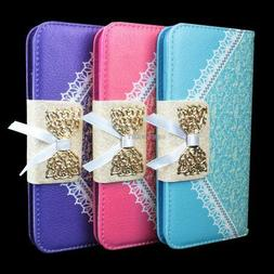 For Apple iPhone 6S/Plus/6 Bow Card Slot Lace PU Leather Wal
