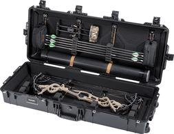 Black Pelican 1745 Long Bow case. Comes with wheels.