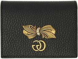 Gucci BLACK Pink Bow Leather Wallet Card Case Authentic Stra