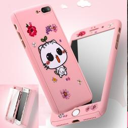 Cute 360° Full Protect Tempered Glass+Acrylic Hard Case For