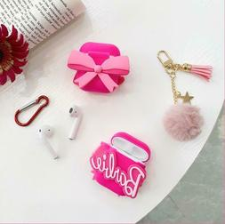 Cute Cartoon Pink Bow Barbie Silicone Case cover for Airpod