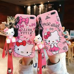 Doll Lanyard Hello Kitty Pink Bow-knot Phone Case Cover For