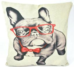 French Bulldog Frenchie Glasses Bow-tie Decorative Pillow Co