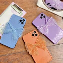 For iPhone 11 Pro Max XS XR 7 8 Plus Lace Bow Soft Shockproo