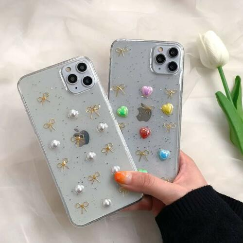 fashion glitter 3d bow tpu phone case