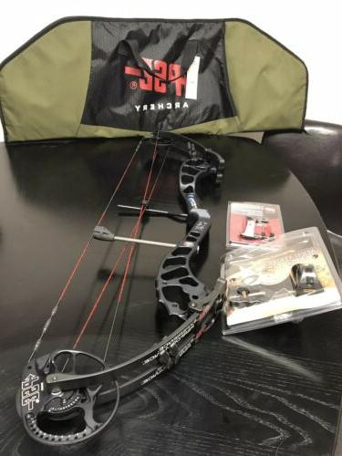 New PSE PHENOM XT Compound Bow With Case, Pin Sight, Arrow R