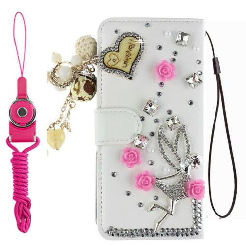 For Tracfone BLU View 1 4G B100dl Diamonds leather Wallet skin