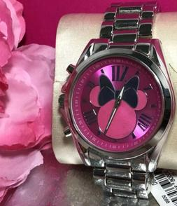 Disney Minnie Mouse Pink Watch Silver Stainless Steel Bow Ca