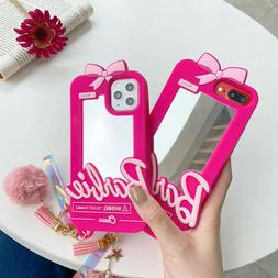 Silicone Pink Bow Barbie Mirror Case cover For iPhone 7 8+ X