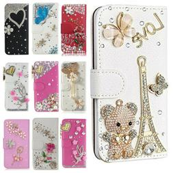 For Tracfone BLU View 1 4G B100dl Bling Diamonds leather Wal